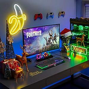Gaming Tastatur Metallic, PC Tastatur PICTEK Rainbow LED Tastatur mit Handgelenkauflage, 19 Anti-Ghosting, 12 Multimedia Verknüpfungen, 1.6m USB Tastatur, 4 wasserdichte Löcher, Keyboard für Gamer