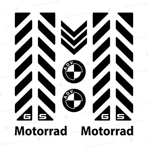 7pcs Kit Bandes réfléchissantes avec GS Compatible pour Vélo en Aluminium Touratech Motorrad F650 F700 F800 R1150 R1200 GS GSA Adventure (Black)