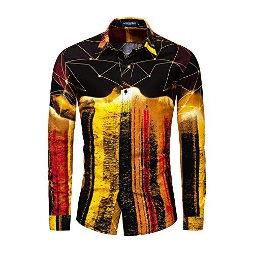 Camisa de Manga Larga para Hombre Europeo y Americano Camisa de Manga Larga con Bloqueo de Color de Gran tamaño Camisa Informal de Moda 3XL