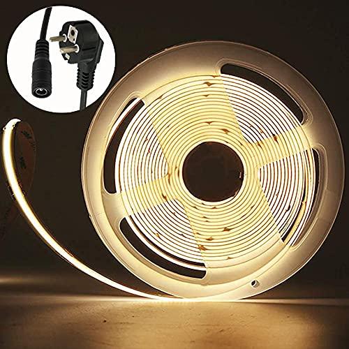 Tira LED COB de 24 V blanca 4000 K y fuente de alimentación, 5 m en total 2560 ledes, 512 LED/M, flexible, chip LED COB para el hogar, cabinet