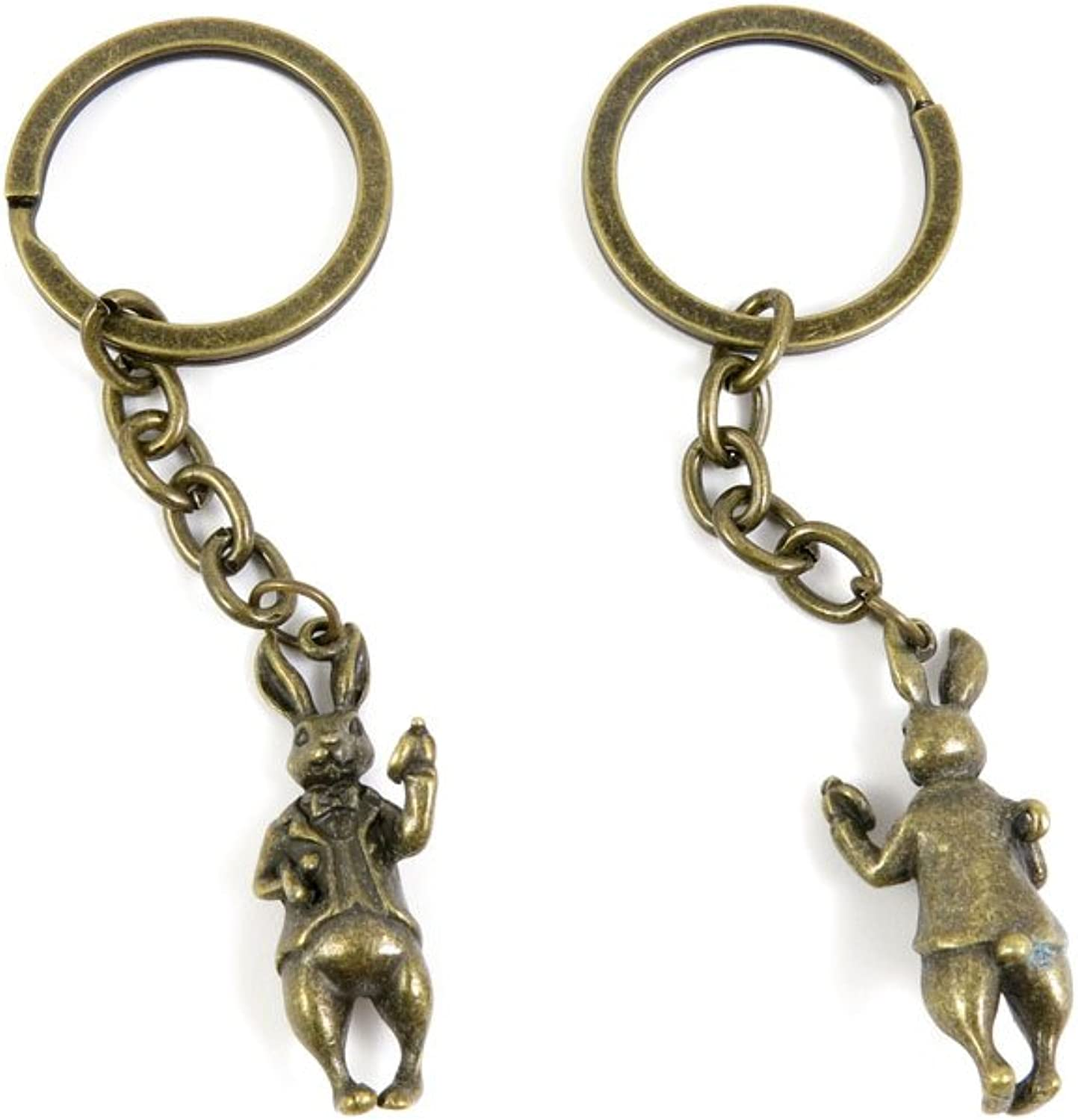 100 PCS Keyrings Keychains Key Ring Chains Tags Jewelry Findings Clasps Buckles Supplies L2QN6 Mr. Rabbit
