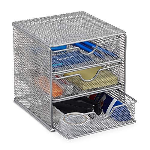Relaxdays Schreibtischorganizer, Büroablage aus Metallgeflecht, Ablagebox für Bürobedarf, HxBxT: 17 x 16 x 17cm, silber