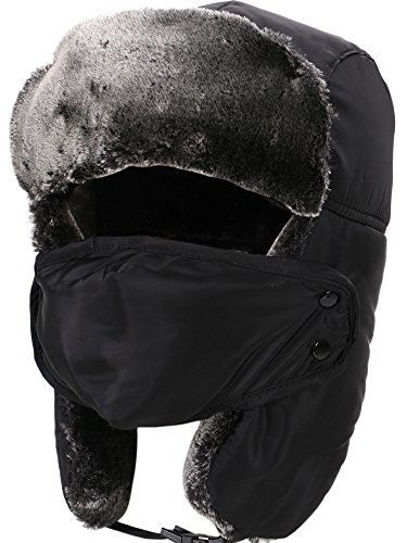 Simplicity Women Mens Weatherproof Faux Fur Lined Trapper Hat with Earflaps and Masks Black