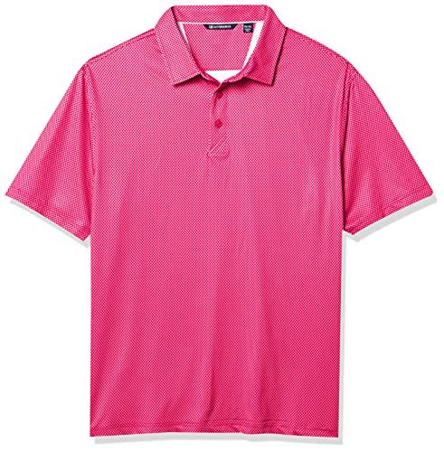 Cutter & Buck Men's Big Drytec UPF 50 Lightweight Pike Mini Pennant Print Polo Shirt, Cardinal Red, 4X Tall