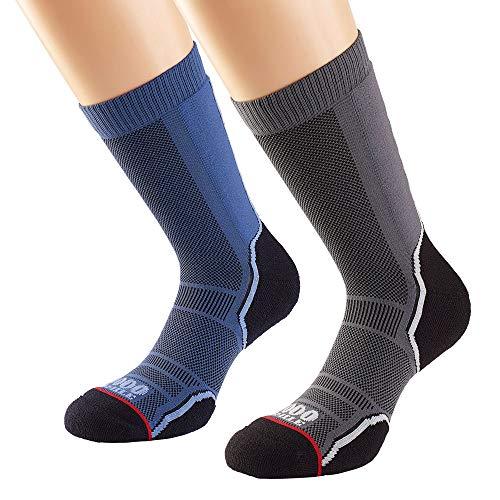 1000 Mile Unisex Doppelpack Trek Walking Socken M Marineblau / Dunkelgrau