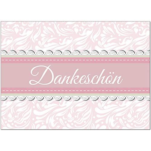 15 x Dankeskarten mit Umschlag - Rosa edel schlicht und schön - Danksagungskarten, Danke sagen, nach Hochzeit, Geburt, Baby, Taufe, Geburtstag, Kommunion, Konfirmation, Jugendweihe