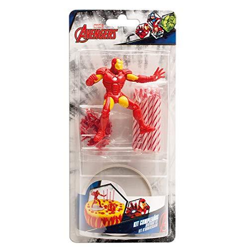 Iron Man 303005 - Kit per Decorazione Torta, Plastica, Multicolore, 11 x 5 x 23 cm