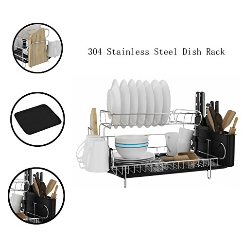 Mewalker 2 Tier Dish Drying Rack 304 Stainless Steel Professional Dish Rack with Microfiber Mat Drain Board and Cutlery Holder, Black
