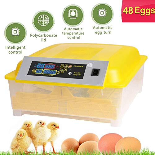 OppsDecor Egg Incubator, 48 Eggs Digital Incubator with Fully Automatic Egg Turning and Humidity Control 80W Clear Hatching for Chicken Duck Eggs (48 Eggs)