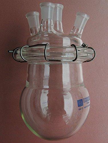 Frasco de reacción de vidrio de 1000 ml, cuatro cuellos reactor químico con tapa y abrazadera de 1 l