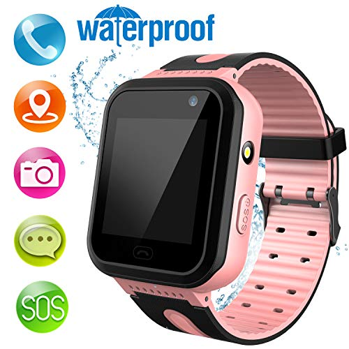 MeritSoar Kids Smart Watch Phone – HD Touch Screen Waterproof Smartwatch for Phone Calls Voice Chat SOS Camera Flashlight for Boy Girl Birthday Gift (Pink)
