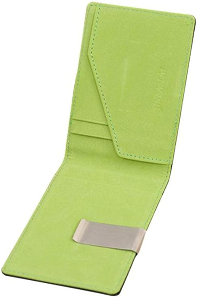 GBSELL Mens Leather Magic Credit Card ID Holder Money Clip Wallet (Green)