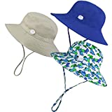 URATOT 3 Pack Boys Girls UPF 50+ Sun Protection Hats Swim Beach Bucket Sun Hat Wide Brim Chin Strap Hats for Kids Outdoors