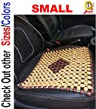 Q1 Beads SBeige Wooden beads acupressure mat car bead seat cover/heating pad/gel pad cover cushion for CAR/SUVs/Office chair/Home Chair/Sofa/Jhula/Swing/Truck/Bus/Tempo(Small,Beige)