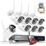SANNCE 8CH 3MP kit de vidéosurveillance sans Fil WiFi NVR système de Surveillance sécurité caméra sans Fil 5MP (1TB, 8 Caméra)