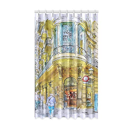 Rtosd Cortinas de Ventana para niñas Barcelona Street Gothic Quarter Spain Architecture Teacher Cortina de Ventana 50 X 84 Pulgadas de una Pieza para Patio Puerta corrediza de Vidrio/Dormitorio