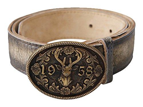 Krüger Buam Trachtengürtel Gürtel Leder Tracht verschiedene Größen und Modelle (100, Zwölfender bronzefarben)