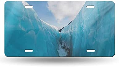 dsdsgog Signs for Car Nature,Frozen Ice Mountains in North South Polar Cubes Winter Theme Artistic Print,White and Blue 12x6 inches,Car Metal