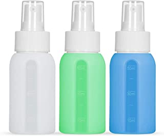 Silicone Spray Bottles Leak Proof Portable Travel Spray Bottles for Essential Oils Essential Cosmetic Fine Mist Small Empty Spray Bottle1.7Oz/50ml, Pack of 3