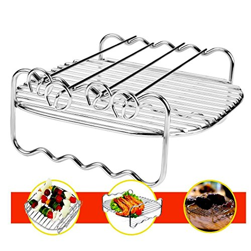 Cedmon Air Fryers Double Layer Rack with 4 Skewers 304 Stainless Steel Baking and Cooling Steaming Rack Accessories Fitting all 3.7 - 5.8 QT