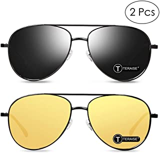 35bc611c07 TERAISE Paquete de 2 gafas de sol polarizadas de conducción + gafas de visión  nocturna Gafas