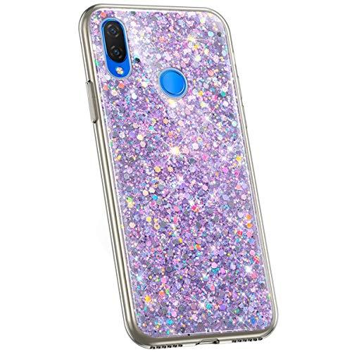Jinghuash Kompatibel mit Huawei P Smart Plus Hülle Glitzer Kristall Glänzend Strass Diamant Silikon Schutzhülle Ultra Dünn Crystal Clear TPU Silikon Handyhülle Tasche Case-Lila