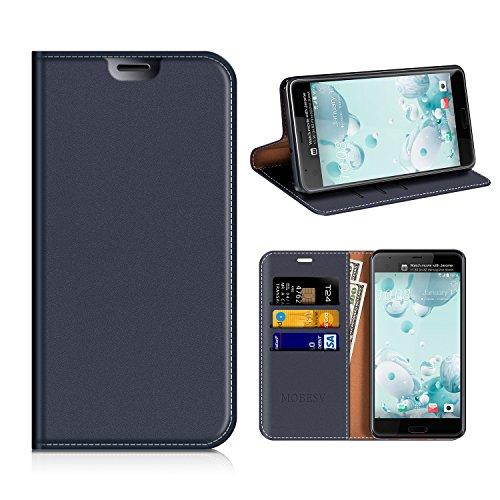 MOBESV HTC U Ultra Hülle Leder, HTC U Ultra Tasche Lederhülle/Wallet Hülle/Ledertasche Handyhülle/Schutzhülle mit Kartenfach für HTC U Ultra - Dunkel Blau