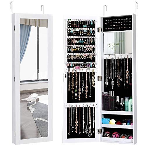 COSTWAY Schmuckschrank mit Ganzkörperspiegel und eingebautem Schminkspiegel, Schmuckregal Tür- und Wandmontage, Schmuck Spiegelschrank für Ringe, Kettenhaken und Ohrringe (Weiß)