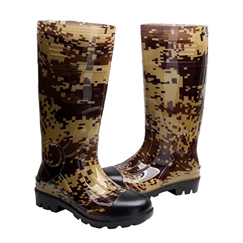 Kontai Man Knee High Rubber Rainboots Camo Waterproof...