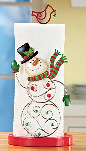 Snowman with scrolling metal body Decorative Christmas Paper Towel Holder