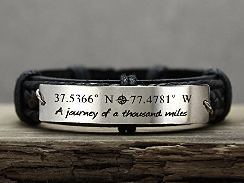 Custom Coordinate Bracelet Silver and Cuff Me Limited Cheap mail order shopping price sale Black for Leather