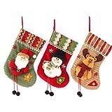 TongICheng Tratar de Navidad Medias Calcetines Mini Regalo de la Navidad Decoración Bolsos para los niños de Santa muñeco de Nieve del Reno del 3PCS Calcetines de la Navidad