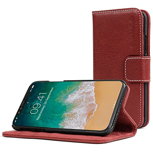 Snugg iPhone Xs Max Wallet Case – Leather Card Case Wallet with Handy Stand Feature – Legacy Series Flip Phone Case Cover in Dusty Cedar Red