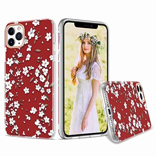 Funda para iPhone 11, suave diseño floral de mármol fino TPU absorción de golpes [protección frontal y posterior] silicona transparente transparente cubierta protectora para iPhone 11 rojo