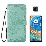 Funda para Xiaomi Redmi Note 9S y Xiaomi Redmi Note 9 Pro + Protector de Pantalla Cristal Templado + Protector de Cámara Lente, Carcasa Libro Con Tapa Flip Case Antigolpes PU Cuero Mandala Verde