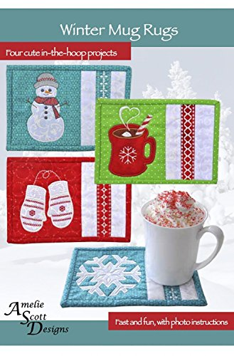 """Winter Mug Rugs - """"In The Hoop"""" Project (CD & instructions) (Mug in photo NOT INCLUDED)"""