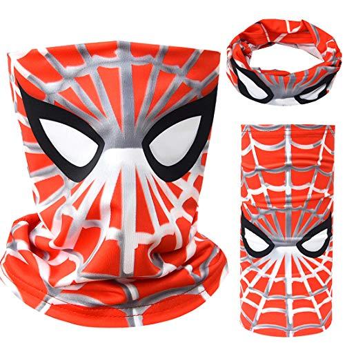 Tsyllyp Kids Boys Full-Coverage Tube Face Bandanas Balaclava UV Protection Neck Gaiter Superheros Halloween Mask