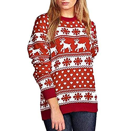 IZHH Damen Tops Frauen Weihnachten Pullover Schnee Muster Floral Dot Print Tops Bluse Shirt Damen Langarm Schneeflocke Print Pullover Tops T-Shirts Tunika Blusen Pullover Sweat-Shirts(Rot,Medium)