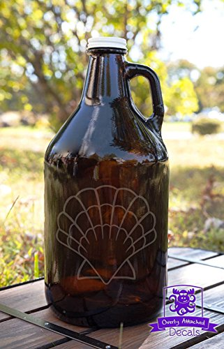 Seashell Etched Amber Glass 64 Ounce Beer Growler Glassware Gift