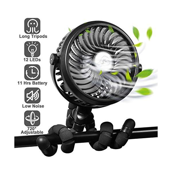 [2020 Upgraded] WGCC Portable Handheld Mini Fan, 2600mAh 12 LEDs Super-quiet USB Fan Clip on Fan Stroller Fan for Bedroom, Car Seat Fan, Personal Desk Fan Camping Small Fan with Long Flexible Tripods, 3 Speeds and 360°Rotation
