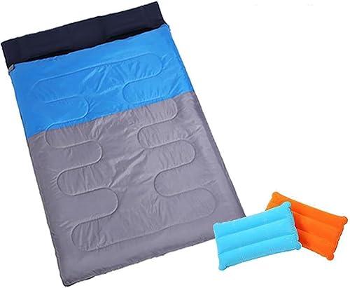 MIAO Sac de couchage-Extérieure et d'hiver camping épaississement double personnes sac de couchage avec oreiller gonflable  2 (détachable deux sac de couchage unique)