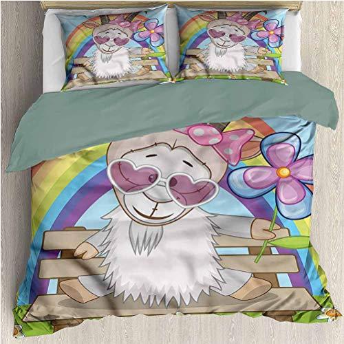 HELLOLEON Goat 3-Pack (1 Duvet Cover and 2 Pillowcases) Bedding Animal Heart Shaped Glasses Polyester (Full)