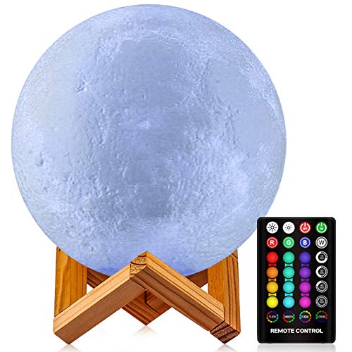 GDPETS Moon Lamp, 3D Printing 16 Colors Moon Night Light with Stand & Remote &Touch Control and USB Rechargeable Decorative Light Up Moon Light for Baby Kids Lover Birthday Party Gifts(7.3 inch)