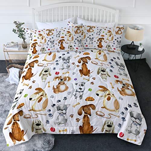 Blessliving Bettwäsche-Set für Hunde und Welpen, 3-teilig, Wasserfarben-Cartoon-Tiere, Bettdecke und Kissenbezüge, hellbraun und weiß, superweiche Steppdecke für Kinder, Teenager, Erwachsene