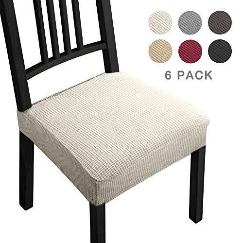 Fundas para sillas Pack de 6 Fundas sillas Comedor Fundas elásticas, Fundas de Asiento para Silla,Diseño Jacquard Cubiertas de la sillas,Extraíbles y Lavables-Decor Restaurante (Paquete de 6,Beige)-B