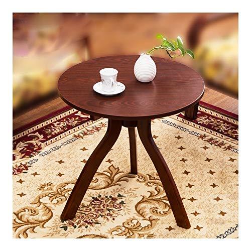 TXOZ - Mesa industrial de mesa redonda para sofá, diseño estable y robusto, montaje sencillo, aspecto de madera (color: A).