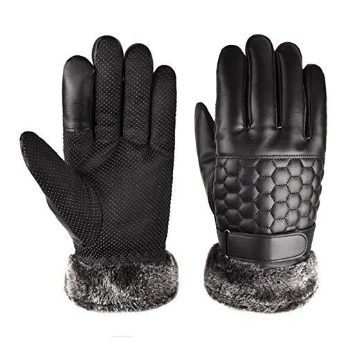 LONGHAIYUAN Herrenhandschuhe Lederhandschuh für Herren Winter Outdoor Warm Verdickung Thermo Patchwork Reiten Touchscreen Handschuhe Winddicht