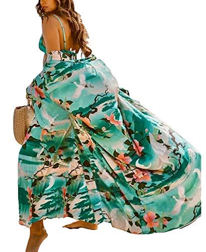 Orshoy Damen Morgenmantel Maxi Lang Kimono Kleid Kimono Bademantel Damen Lange Robe Schlafmantel Girl Pajama Party Lang Bademode Strandkleid
