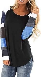 Casual Color Block Long Sleeve Sweatshirt Women Pullover Tops Loose Tunic