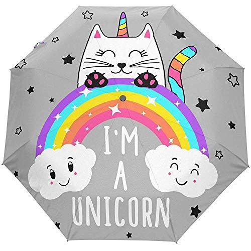 Leuke paraplu voor kat, droom, paard, zomer, regenboogparaplu, open, automatisch, zon, regen, UV-bescherming, opvouwbaar, compact, automatisch, paraplu
